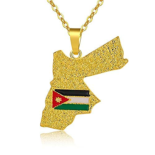 POIUIUYH Co.,ltd Collar Kingdom Jordan Card and Flag Collares para Mujeres/Hombres Color Dorado País Joyería de Regalo patriótica