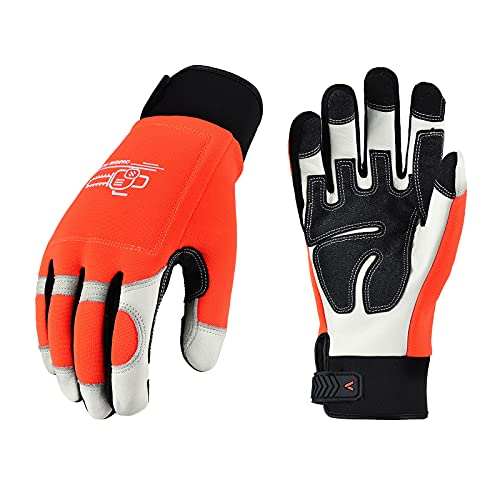 Vgo Chainsaw 12-Layer Saw Protection on Both Hands Cow Leather Gloves (Size XL, Orange, CA9760)