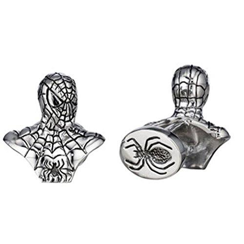 Gemelli del busto spiderman in argento sterling di Robin Rotenier