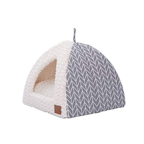 """Miss Meow Cat Dog Tent Triangle Pet Bed Removable Cushion Cover Two Way Conversion 15""""x15""""x15"""" Gray Arrow"""