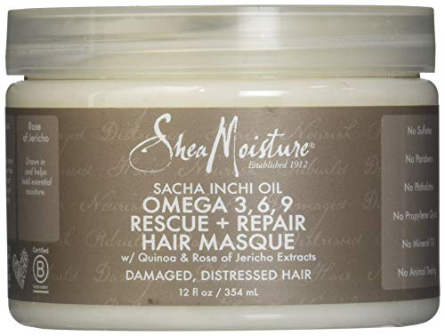 Shea Moisture Sacha Inchi Oil Omega-3-6-9 Rescue & Repair Hair Masque for Unisex, 12 Ounce