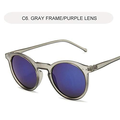 occhiali da sole Sunglasses Occhiali Da Sole Polarizzati Uomo Donna Moda Lenti Tonde Montatura Per OcchialiDaVista Driving Occhiali Da SoleUv400 C6Gray