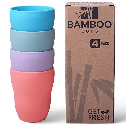 GET FRESH Tazas de Bambú - 4 Piezas Juego de Cena de Bambú sin BPA - Reutilizable Vajilla Fibra de Bambú Taza y Aptas para el Lavavajillas - Reusable Bamboo Fibre Cups