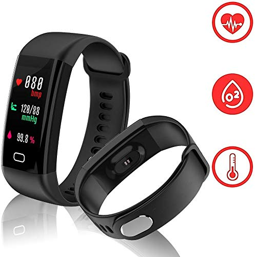 Fitness Tracker mit Herzfrequenz Monitor, weton Schrittzähler mit Blut Druck Activity Tracker Schlaf Monitor IP68 Wasserdicht Farbe Bildschirm Smart Bluetooth Sport Armband für iPhone Android