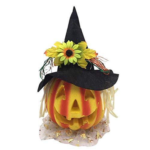 LQH La decoración de Halloween Calabaza Hueco con lámpara LED Sombrero de Halloween Partido casero Linterna de Halloween decoración de la Barra, Llena de Ambiente Miedo Negro