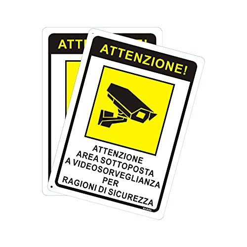 Andchi 2 pezzi Cartello area videosorvegliata - Telecamera videosorveglianza per negozio e proprietà privata, Targa metallica in alluminio, antiruggine, 25 x 35 cm