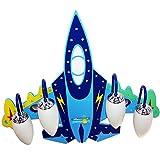 LED 4 Pantallas de vidrio Lámparas colgantes para habitaciones de niños, Estilo de dibujos animados Forma de avión Control remoto Regulable Niño niña Dormitorio Lámpara de techo Lámpara E14 Enc