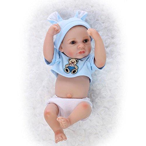 Nicery Reborn Baby Doll Réincarné bébé Poupée Doux Simulation Silicone Vinyle 10 Pouces 26cm Qui Semble Vivant Imperméable Jouet Vif réaliste Âge 3+ Blue Bear Garçon