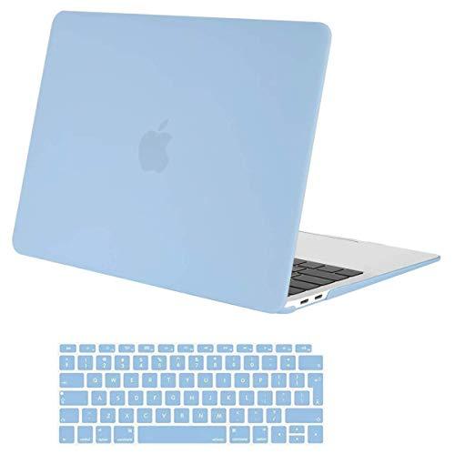 MOSISO Case Compatibile con MacBook Air 13 con Touch ID 2020-2018 Uscita A2337 M1 A2179 A1932 con Retina Display,Plastica Custodia Rigida Cover Shell&Tastiera Skin Cover, Blu Airy