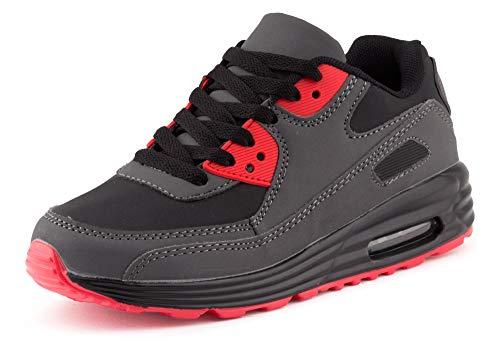 Fusskleidung Unisex Damen Herren Sportschuhe Übergrößen Laufschuhe Turnschuhe Neon Sneaker Schuhe EU Schwarz Dunkelgrau Rot Rot 36