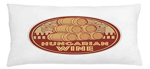 ABAKUHAUS Hongarije Sierkussensloop, Vintage Hongaarse Wijn Text, Decoratieve Vierkante Hoes voor Accent Kussen, 90 cm x 40 cm, Red Mustard en Beige