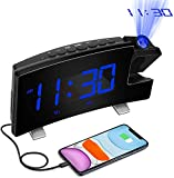 """Digital Projection Alarm Clock Large 8"""" LED Curved Screen Display with USB Charger and Loud Dual Alarms for Bedroom, Plug-in 180° Projector 12/24 H Wall Ceiling Clock for Heavy Sleeper Kid Elderly"""