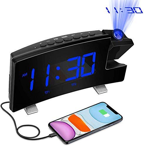 Digital Wecker mit Projektion 8 Zoll LED Licht Display Projektionswecker Funkuhr mit USB Ladegerät und Lautem Doppelalarm für Schlafzimmer, 12/24H Wanddeckenuhr für ältere Kinder mit Schwerem Schlaf