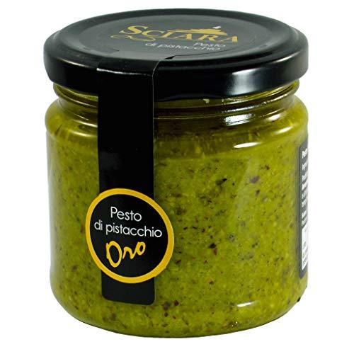SCIARA - Pesto di Pistacchio 'ORO' al 60% - Realizzato con Olio EVO - Per la realizzazione di un'ottima salsa al Pistacchio. Per condire primi piatti, secondi e bruschette. Senza Glutine e Uova
