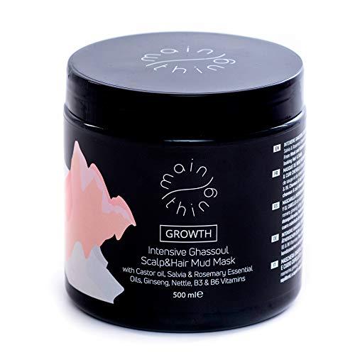 Main Thing Maschera purificante per capelli e cuoio capelluto, previene la perdita dei capelli, con ghassoul, olio di ricino, oli essenziali, vitamine, estratto di ginseng e ortica, 500 ml