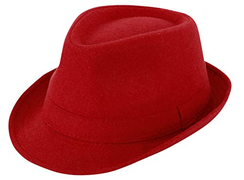 Simplicity Trilby Hats for Mens Hats Fedora Unisex Timelessly Classic Manhattan Fedora Hat for Men Short Brimed Fedora Hats for Women Travel,Red