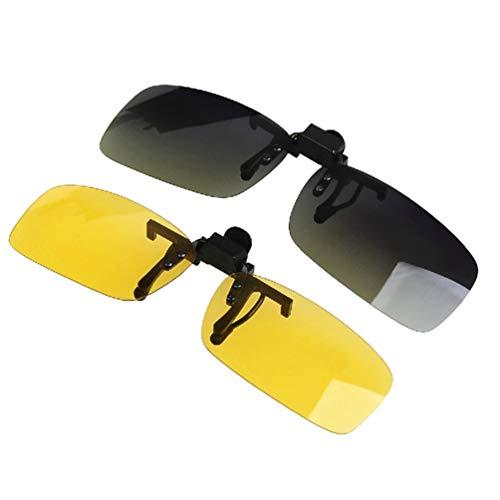 LIOOBO Clip auf klappbare Sonnenbrille Zubehör Clip auf Brille Brille Clips Nachtsichtbrille Fahren liefert Unisex 2pcs (12 9x5 6 cm)