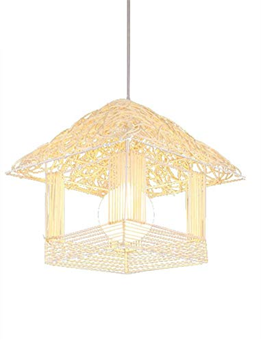JXJ Araña E27 Ratán Rural Creativo de una Sola Cabeza Araña de Nido de pájaro Sala de Estar Restaurante Dormitorio Pajarera Luces Colgantes, Tejido de Aluminio Manual Decoración del hogar Luz de