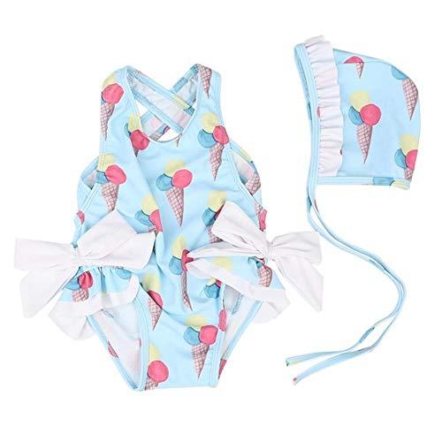 Badpak kinderen meisjes kinder badmode voor meisje zonnebrandcrème zwemmen bikini voor meisje bikini badpak badmode mooie bikinis + pet pak, blauw, 2-3Y