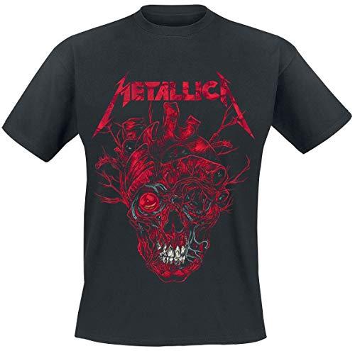Metallica Heart Skull Hombre Camiseta Negro XXL, 100% algodón, Regular