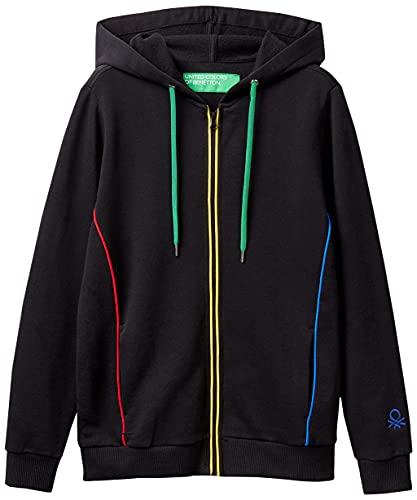 United Colors of Benetton (Z6ERJ Giacca C/CAPP M/L 3J68E5232 Sudadera sin Capucha, Negro Lacci Multicolor E 901, Mujer