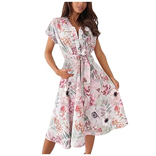Liably Vestido de mujer retro con cuello de pico, con cordones, de manga corta, holgado, para la playa, de cintura alta, elegante, Y2k Rosa. S