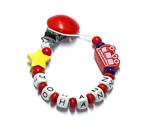 Baby Schnullerkette mit Perlen aus Holz und Wunschname. Feuerwehr 112 (Johann)