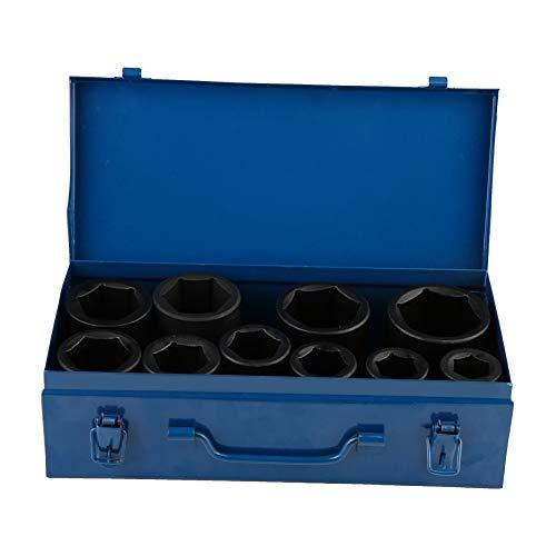 10 tlg Schlagschrauber Nüsse Set, Chrom-Vanadium-Stahl Steckschlüssel Satz Mit Aufbewahrungsbox für Antriebswellen 36mm 38mm 41mm 46mm 50mm 22mm 24mm 27mm 30mm 32mm