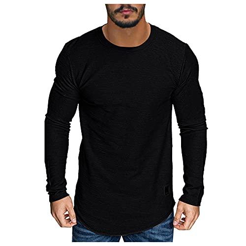 BOOMJIU Herren T-Shirt Langarm Modern,Freizeit Einfarbig Rundhals Langarm Tops Bequemer Sweatshirt