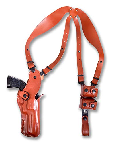 MASC Premium Leather Vertical Shoulder Holster System with Double Speed Loader, Colt Pyhton 357 Revolver 6' BBL, Right Hand Draw, Brown Color #1306#