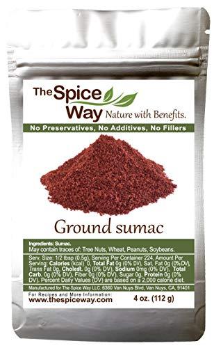 The Spice Way - Pure 100% Sumac, No Salt, no GMO, no Irradiation, Spice Seasoning Powder 4 oz (resealable bag) (Sumak)
