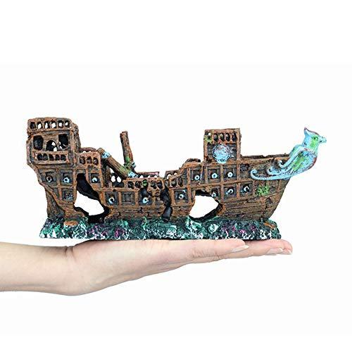 ZHZX Pecera Paisajismo Decoración de Barco Pirata, Acuario Adornos naufragios submarinos, Cuevas…