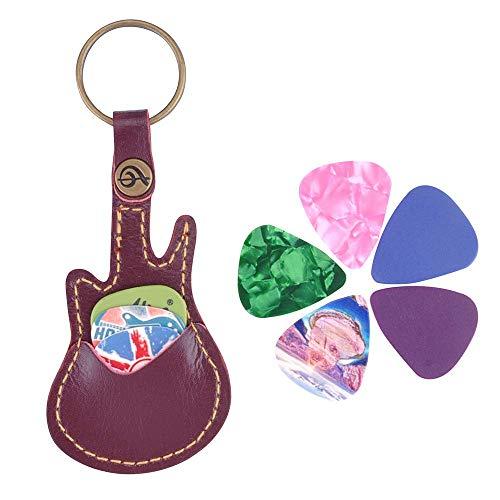 Llavero de piel con forma de guitarra para púas de guitarra, con 5 púas, Estuche para púas de guitarra, color café
