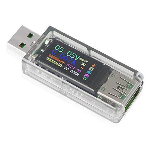 Innovateking-EU Probador USB Multímetro Medidor USB para medición y detección de Corriente de Voltaje con Pantalla IPS a Color de 0.96 Pulgadas