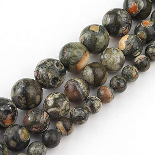 HUKGD Cuentas de Piedra Sueltas Redondas Antiguas de Jaspe Verde Natural de 6/8/10/12 Mm para Hacer Joyas, Pulseras DIY, dijes de Collar de 15 Pulgadas 6mm