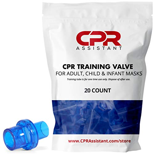 20 Count One Way CPR Practice Valves (CPR Training Valve) Individually Wrapped by CPR Assistant