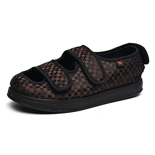 TTFF Damen Herren Verstellbar Schuhe,Verbreiterungs-Klett-Stoff-Schuhe, Bequeme tragbare Diabetiker-Schuhe-Braun_41,Hausschuhe Arthritis Ödem Einstellbare