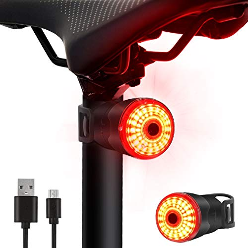 Rear Bike Light, Brake Sensing LED Bike Tail Light USB Rechargeable, Red High Intensity Bicycle Taillight Waterproof, LED Lamp Safety Warning Strobe Light, 6 Light Mode Bike Back Light