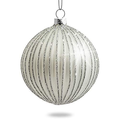 Sikora Highlights 4er Set ausgefallene Christbaumkugeln aus Glas Silber, Farbe/Modell:Modell Helsinki Silber, Größe:8 cm