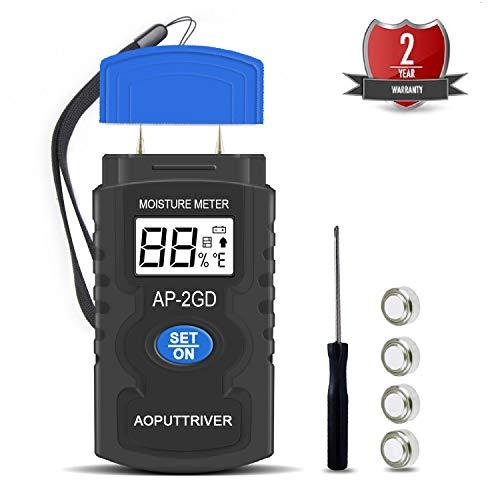 Misuratore Umidità Legno,AP-2GD Indicatore di Umidità Portatile DigitaleLegno Igrometro Damp Meter Rilevatore Rivelatore Misuratore Tester di Umidità con LCD HD per Materiali da Legna Carta Tappeto