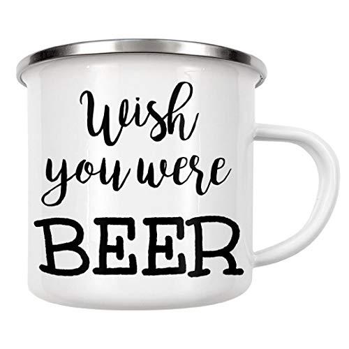 artboxONE Emaille Tasse Wünschte, du wärst Bier von Dunja Krefft - Emaille Becher Typografie