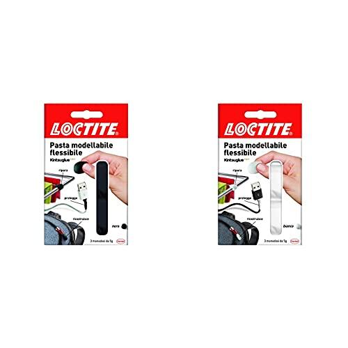 Loctite Super Attak Pasta Modellabile, Adesiva Flessibile Nera Per Riparare & Pasta Modellabile, Adesiva Flessibile Bianca Per Riparare, Ricostruire E Proteggere Oggetti
