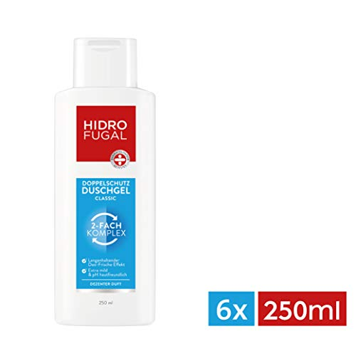 Hidrofugal Duschgel Classic im 6er Pack (6x 250 ml), Doppelschutz Duschgel reduziert Geruchsbildung und beugt geruchsbildenden Bakterien vor, Duschbad mit antibakterieller Formel