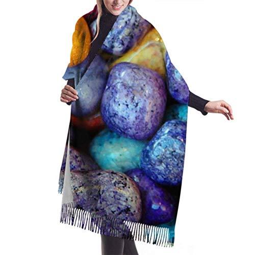 27'x77 Bufanda Viajes Rocas de colores Piedras Telón de fondo Abrigo de cachemira brillante Bufanda Chal Bufanda Abrigo Elegante Manta grande y cálida
