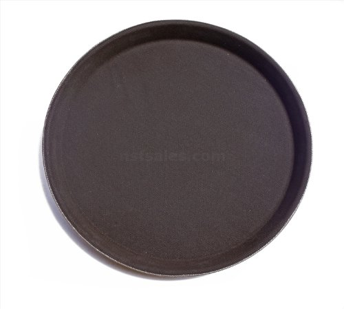 New Star Foodservice 25385 Non-Slip Tray, Plastic, Rubber Lined, Round, 18 inch, Pack of 12, Brown