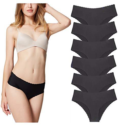 Misolin Damen Slips Nahtlos Unterwäsche Bikinis Taillenslips Seamless Unsichtbare Dehnbare Bequeme Panties Hipsters 3/6 Pack (50-52, Schwarz)