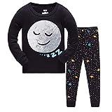 Pijama para Niños-Pijama Niño Invierno-Pijamas de Luna para Niños-Manga Larga Niño Ropa de algodón Traje Dos Set 2-8 Años