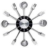 Reloj de Cocina Efecto Espejo con Diseño de Cuchara,Reloj de Cuarzo de Pared Silencioso,Tenedor, Cubertería,Adhesivo Extraible en 3D para Decoración del Hogar Fácil Leer -43CM