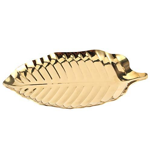OhhGo Estilo nórdico en forma de hoja collar joyería bandeja almacenamiento organizador accesorios decorativos