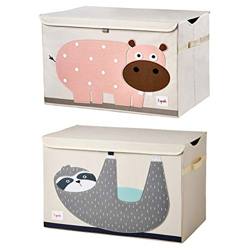 3 Sprouts Children's Nursery Room Soft Fabric Folding Storage Trunk Toy Chest Box Kid's Organizer, Friendly Sloth and Hippo (2 Pack)